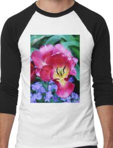Pink, Yellow And Blue Flowers Men's Baseball ¾ T-Shirt