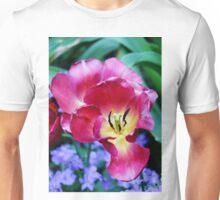 Pink, Yellow And Blue Flowers Unisex T-Shirt