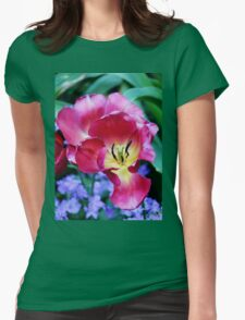 Pink, Yellow And Blue Flowers Womens Fitted T-Shirt