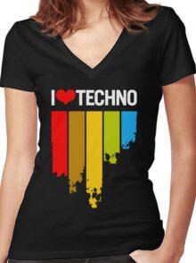 I Love Techno Women's Fitted V-Neck T-Shirt