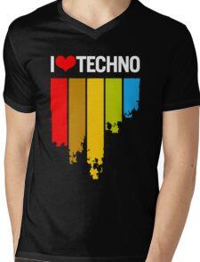 I Love Techno Mens V-Neck T-Shirt