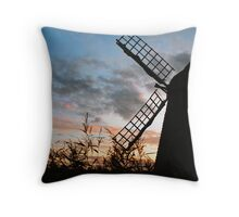 Wicken Windpump silhouette Throw Pillow