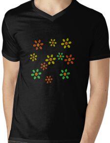 Happy Flowers T-Shirt Mens V-Neck T-Shirt