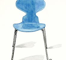 Ant Chair - Watercolor Painting by Eugenia Alvarez