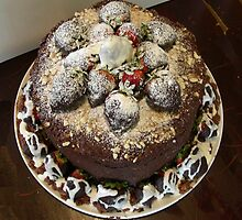 Strawberries and Chocolate Cake by Phyllis Dixon