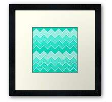 Trendy Teal Gradient Thick Chevron Zigzag Pattern Framed Print