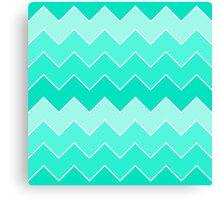 Trendy Teal Gradient Thick Chevron Zigzag Pattern Canvas Print