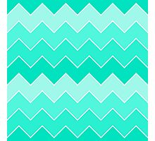 Trendy Teal Gradient Thick Chevron Zigzag Pattern Photographic Print
