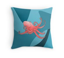 Smiling Octopus in the Blue Ocean Throw Pillow
