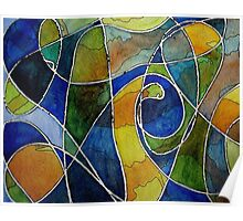 Watercolor Pen and Ink Abstract Poster