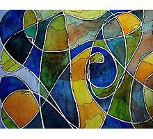 Watercolor Pen and Ink Abstract Photographic Print
