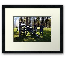Firing the Cannon at Camp Ford. Framed Print