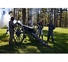 Firing the Cannon at Camp Ford. Photographic Print