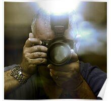 Photographer Capturing Light Through a Mirror Poster