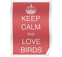 Keep calm and love birds - Old red Poster