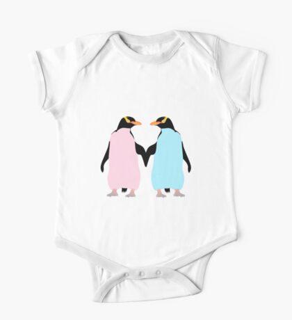 Pastel Penguins holding hands One Piece - Short Sleeve