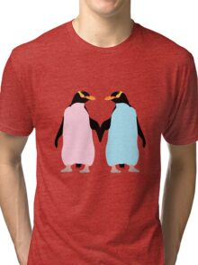 Pastel Penguins holding hands Tri-blend T-Shirt