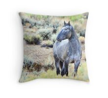 The Watchful Eye - Wild Blue Roan Stallion Throw Pillow