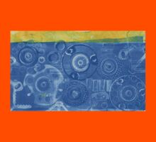 Techno 6 - Techno Landscape - Monotype Print in Blue Kids Clothes