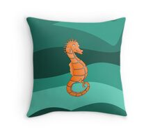 Orange Seahorse  | Swirling Green Sea Throw Pillow