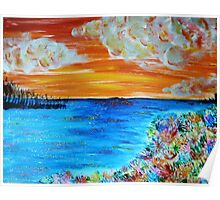 Sunset and Flowers Poster