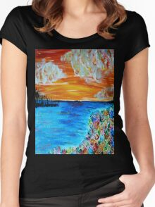 Sunset and Flowers Women's Fitted Scoop T-Shirt