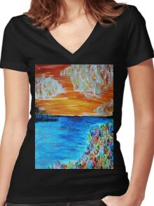 Sunset and Flowers Women's Fitted V-Neck T-Shirt