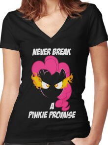 Never Break a Pinkie Promise (WHITE TEXT) Women's Fitted V-Neck T-Shirt