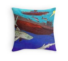 Under Water Wolves and Tiger Throw Pillow
