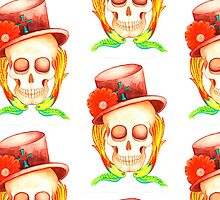top hat tattoo style skull by melaniedann