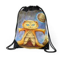let the force be with you cute star war kitty Drawstring Bag