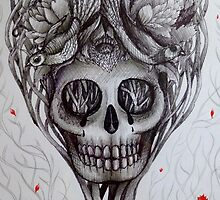 head space skull tattoo style art by melaniedann