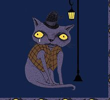 Sad Cat with Moonlight Memories by SusanSanford