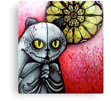 sugar skull goth skeleton cat & moon Canvas Print