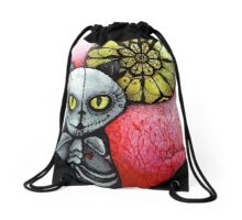 sugar skull goth skeleton cat & moon Drawstring Bag