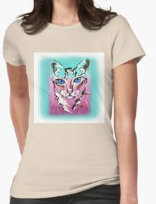 Colorful Cat - Animal Art by Valentina Miletic Womens Fitted T-Shirt