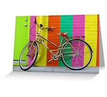 Bicycle Against Colorful Wall Greeting Card