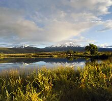 Spanish Peaks and the La Veta Town Lakes by Fletcher Hill