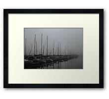Foggy Morning at Marina Framed Print