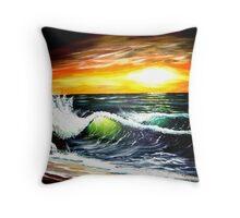 emerald sea at sunset Throw Pillow