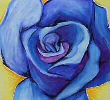 Blue Rose - Oil Pastel by Debbie  Widmer