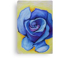 Blue Rose - Oil Pastel Canvas Print