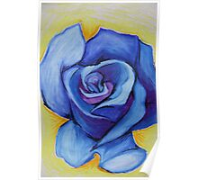 Blue Rose - Oil Pastel Poster