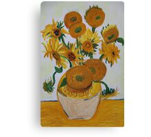 Sunflowers - Oil Pastel Canvas Print