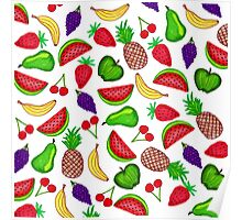 Tutti Fruity Hand Drawn Summer Mixed Fruit Poster