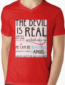 The Devil is  Real Mens V-Neck T-Shirt