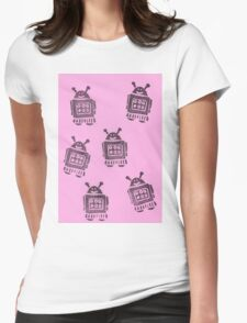 Pink Robots Womens Fitted T-Shirt