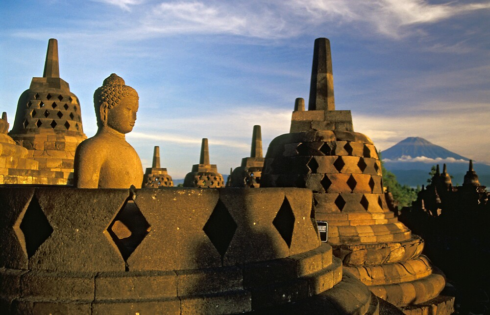 Buddha Statue and Stupas, Borobudur  by Petr Svarc