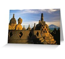 Buddha Statue and Stupas, Borobudur  Greeting Card