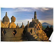 Buddha Statue and Stupas, Borobudur  Poster